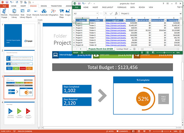Engage screenshot of presentation automation with Excel SlideMerge