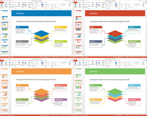 PowerPoint screenshots of 4 presentations of the same slide with different colors