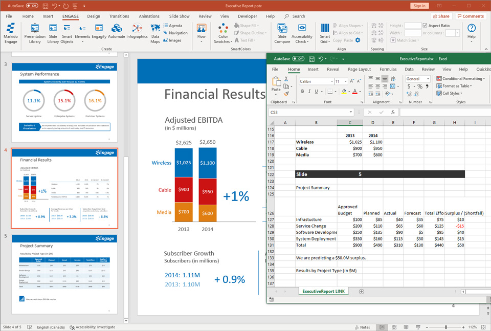 Engage screenshot of presentation automation with Excel ShapeLink