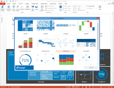 Screenshot of PowerPoint Engage Infographics dialog.